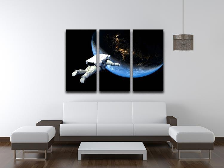 Astronaut Floating to Earth 3 Split Panel Canvas Print - Canvas Art Rocks - 3