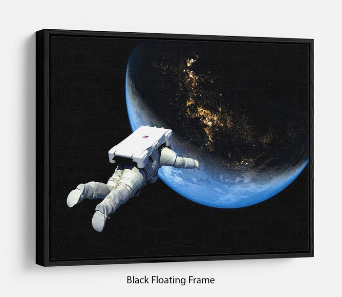 Astronaut Floating to Earth Floating Frame Canvas