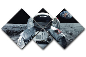 Astronaut at the moon 4 Square Multi Panel Canvas  - Canvas Art Rocks - 1