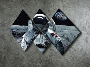 Astronaut at the moon 4 Square Multi Panel Canvas - Canvas Art Rocks - 2