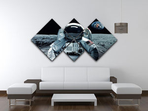 Astronaut at the moon 4 Square Multi Panel Canvas - Canvas Art Rocks - 3