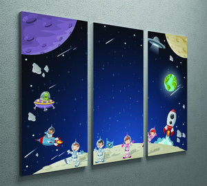 Astronaut cartoon characters 3 Split Panel Canvas Print - Canvas Art Rocks - 2