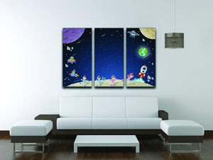 Astronaut cartoon characters 3 Split Panel Canvas Print - Canvas Art Rocks - 3
