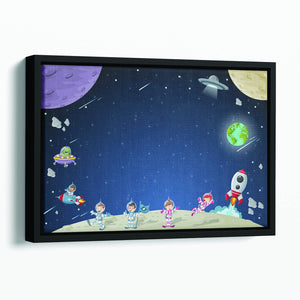 Astronaut cartoon characters Floating Framed Canvas