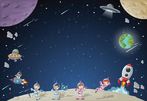Astronaut cartoon characters Wall Mural Wallpaper - Canvas Art Rocks - 1