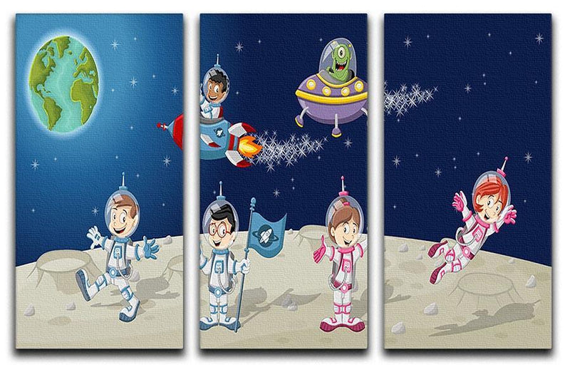 Astronaut cartoon characters on the moon with the alien spaceship 3 Split Panel Canvas Print - Canvas Art Rocks - 1