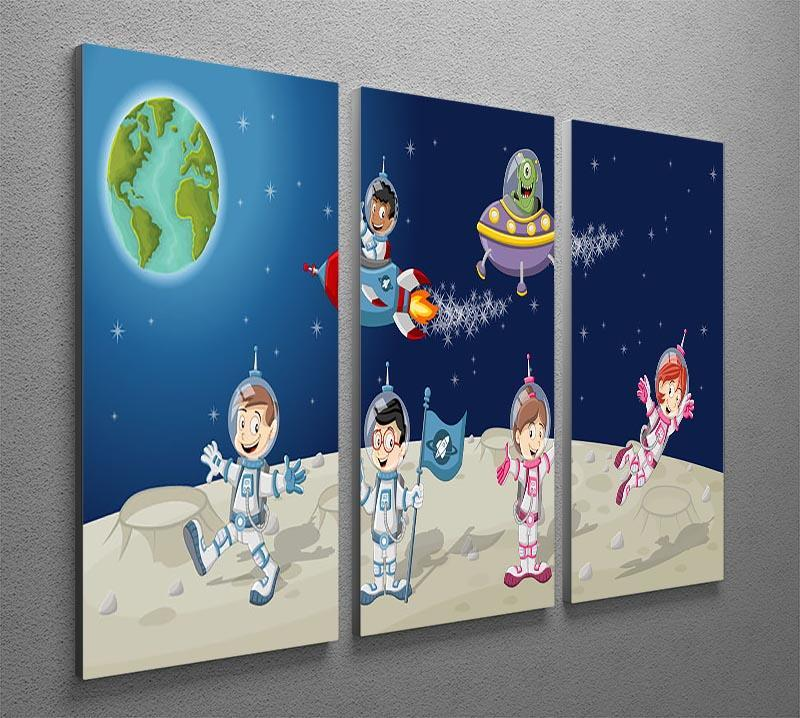 Astronaut cartoon characters on the moon with the alien spaceship 3 Split Panel Canvas Print - Canvas Art Rocks - 2