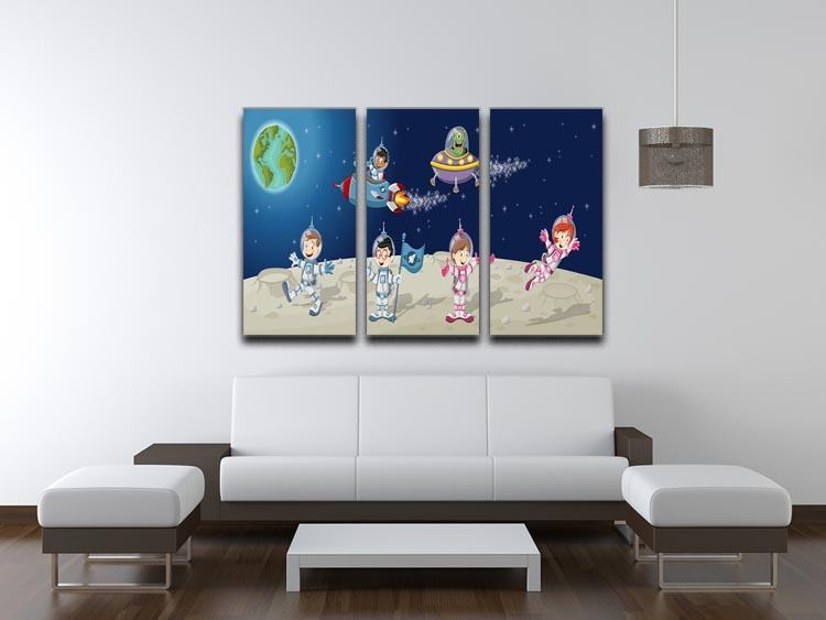 Astronaut cartoon characters on the moon with the alien spaceship 3 Split Panel Canvas Print - Canvas Art Rocks - 3