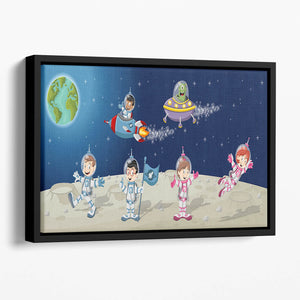 Astronaut cartoon characters on the moon with the alien spaceship Floating Framed Canvas