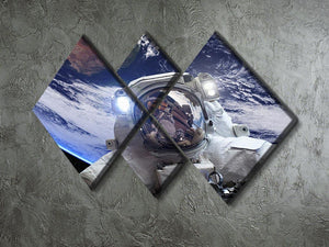 Astronaut in outer space against the backdrop 4 Square Multi Panel Canvas - Canvas Art Rocks - 2