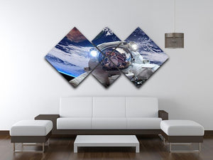 Astronaut in outer space against the backdrop 4 Square Multi Panel Canvas - Canvas Art Rocks - 3