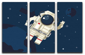 Astronaut in outer space concept vector 3 Split Panel Canvas Print - Canvas Art Rocks - 1