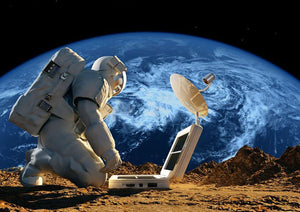 Astronaut working on the Moon Wall Mural Wallpaper - Canvas Art Rocks - 1