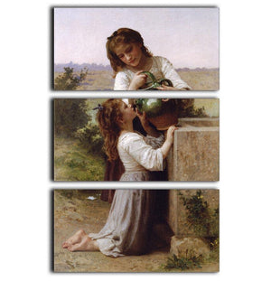 At The Fountain By Bouguereau 3 Split Panel Canvas Print - Canvas Art Rocks - 1