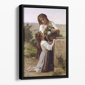 At The Fountain By Bouguereau Floating Framed Canvas