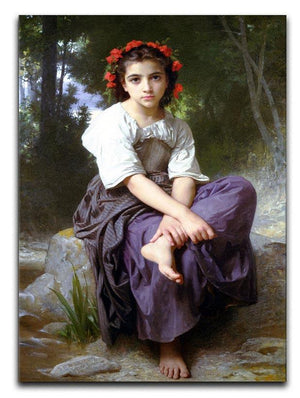 At the Edge of the Brook 2 By Bouguereau Canvas Print or Poster  - Canvas Art Rocks - 1