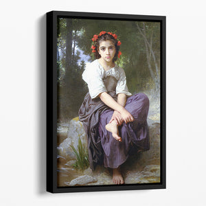 At the Edge of the Brook 2 By Bouguereau Floating Framed Canvas