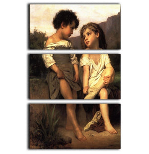 At the Edge of the Brook By Bouguereau 3 Split Panel Canvas Print - Canvas Art Rocks - 1