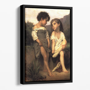 At the Edge of the Brook By Bouguereau Floating Framed Canvas