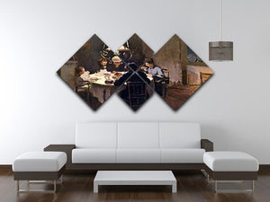 At the Table by Monet 4 Square Multi Panel Canvas - Canvas Art Rocks - 3