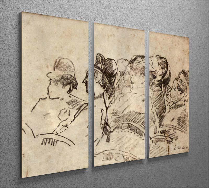 At the Theater by Manet 3 Split Panel Canvas Print - Canvas Art Rocks - 2