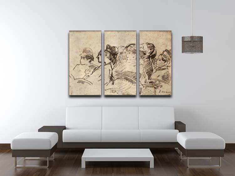 At the Theater by Manet 3 Split Panel Canvas Print - Canvas Art Rocks - 3