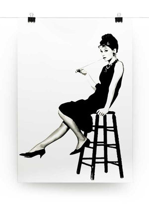 Audrey Hepburn Posing on Stool Print - Canvas Art Rocks - 2