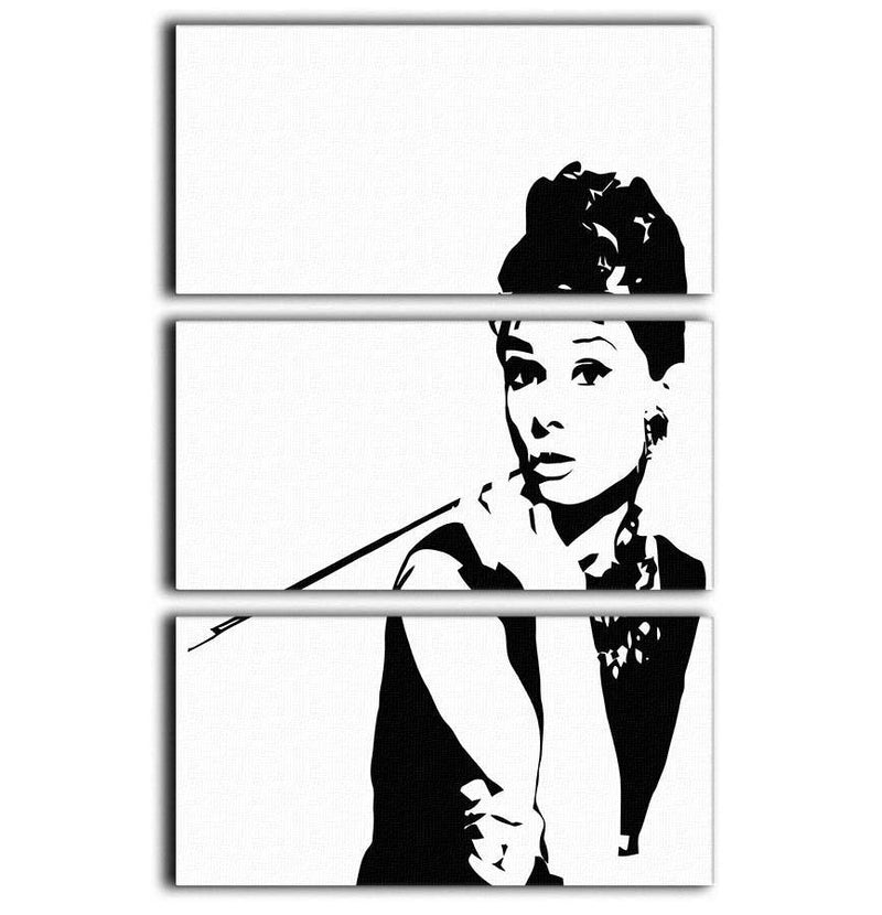 Audrey Hepburn And Cigarette Holder 3 Split Panel Canvas Print - Canvas Art Rocks - 1