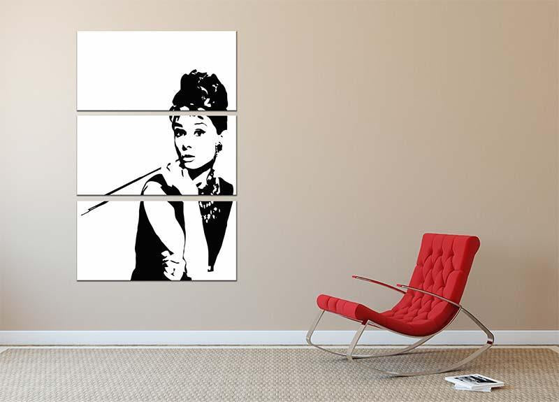 Audrey Hepburn And Cigarette Holder 3 Split Panel Canvas Print - Canvas Art Rocks - 2
