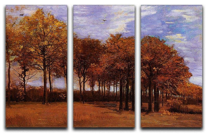 Autumn Landscape by Van Gogh 3 Split Panel Canvas Print
