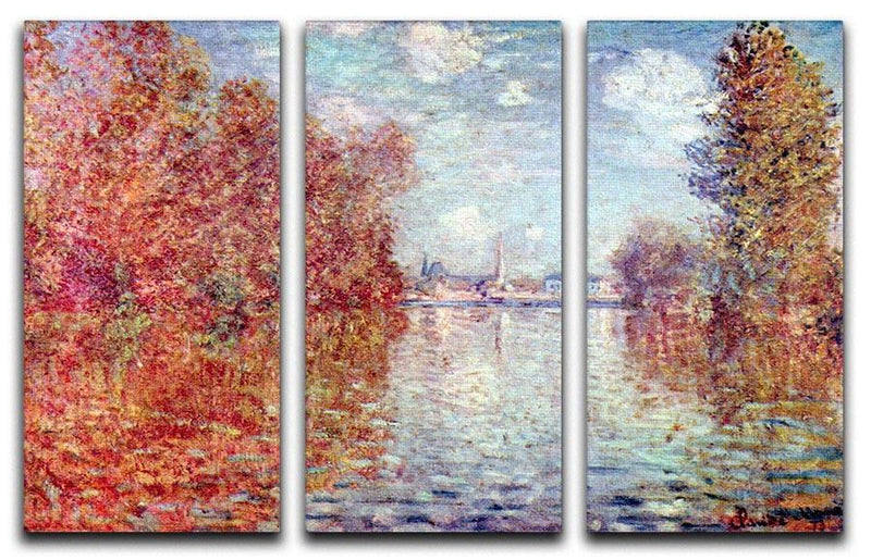 Autumn in Argenteuil by Monet Split Panel Canvas Print - Canvas Art Rocks - 4