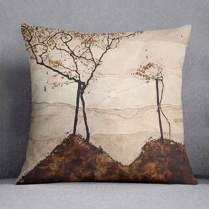 Autumn sun and trees by Egon Schiele Cushion