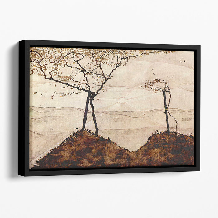 Autumn sun and trees by Egon Schiele Floating Framed Canvas
