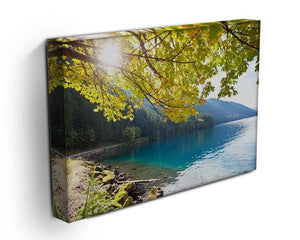 Autumn sun flare on lake Canvas Print or Poster - Canvas Art Rocks - 3