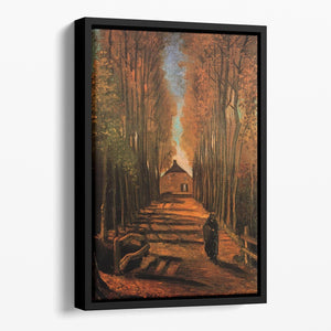 Avenue of Poplars in Autumn by Van Gogh Floating Framed Canvas