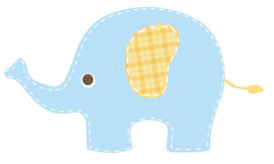 Baby Blue Elephant Wall Decal - Canvas Art Rocks - 2