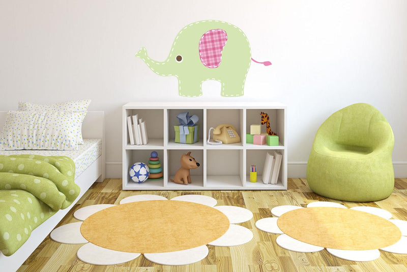 Baby Green Elephant Wall Decal - Canvas Art Rocks - 1