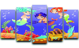 Baby Sirens and Baby Triton 5 Split Panel Canvas  - Canvas Art Rocks - 1
