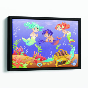 Baby Sirens and Baby Triton Floating Framed Canvas