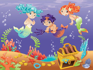 Baby Sirens and Baby Triton Wall Mural Wallpaper - Canvas Art Rocks - 1