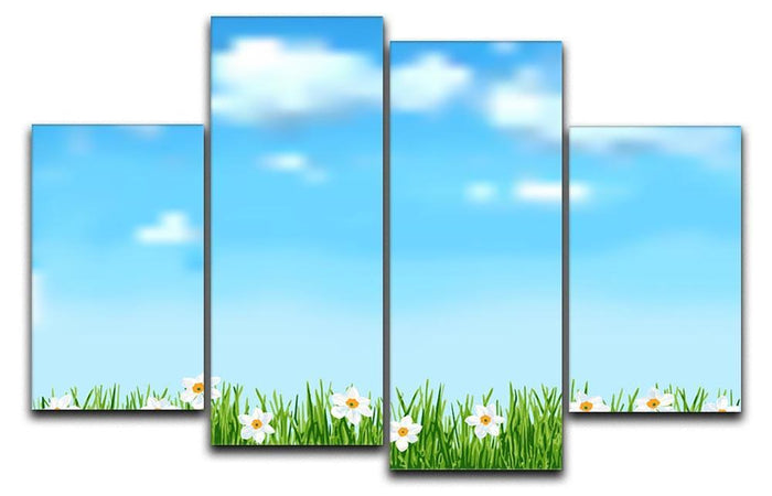 Background with grass and white flowers 4 Split Panel Canvas