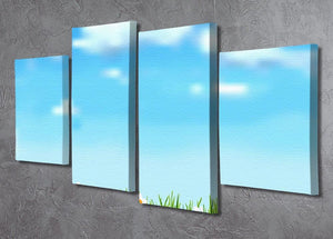 Background with grass and white flowers 4 Split Panel Canvas  - Canvas Art Rocks - 2