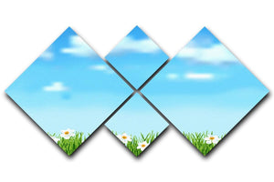 Background with grass and white flowers 4 Square Multi Panel Canvas  - Canvas Art Rocks - 1