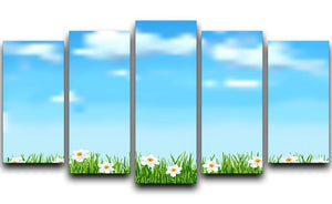 Background with grass and white flowers 5 Split Panel Canvas  - Canvas Art Rocks - 1