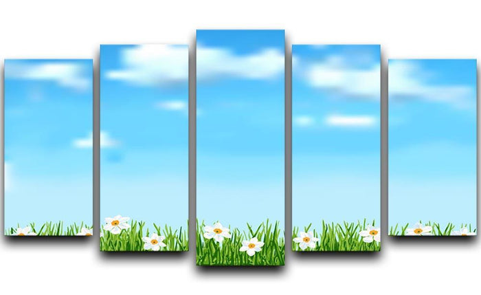 Background with grass and white flowers 5 Split Panel Canvas