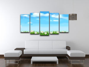 Background with grass and white flowers 5 Split Panel Canvas  - Canvas Art Rocks - 3