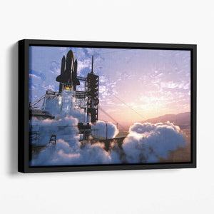 Baikonur with the spacecraft against the sky Floating Framed Canvas