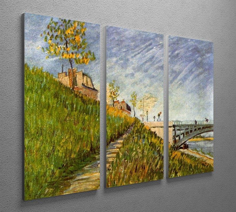 Banks of the Seine with Pont de Clichy by Van Gogh 3 Split Panel Canvas Print - Canvas Art Rocks - 4