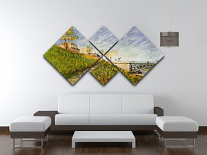 Banks of the Seine with Pont de Clichy by Van Gogh 4 Square Multi Panel Canvas - Canvas Art Rocks - 3