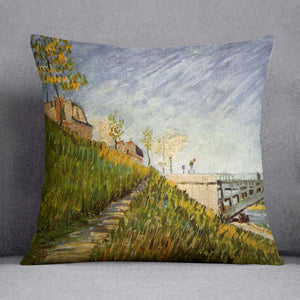 Banks of the Seine with Pont de Clichy by Van Gogh Throw Pillow